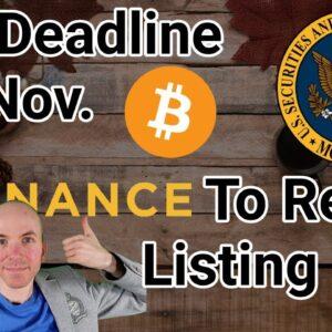 New ETF Deadline 5th Nov. / Binance To Reveal Listing Fees